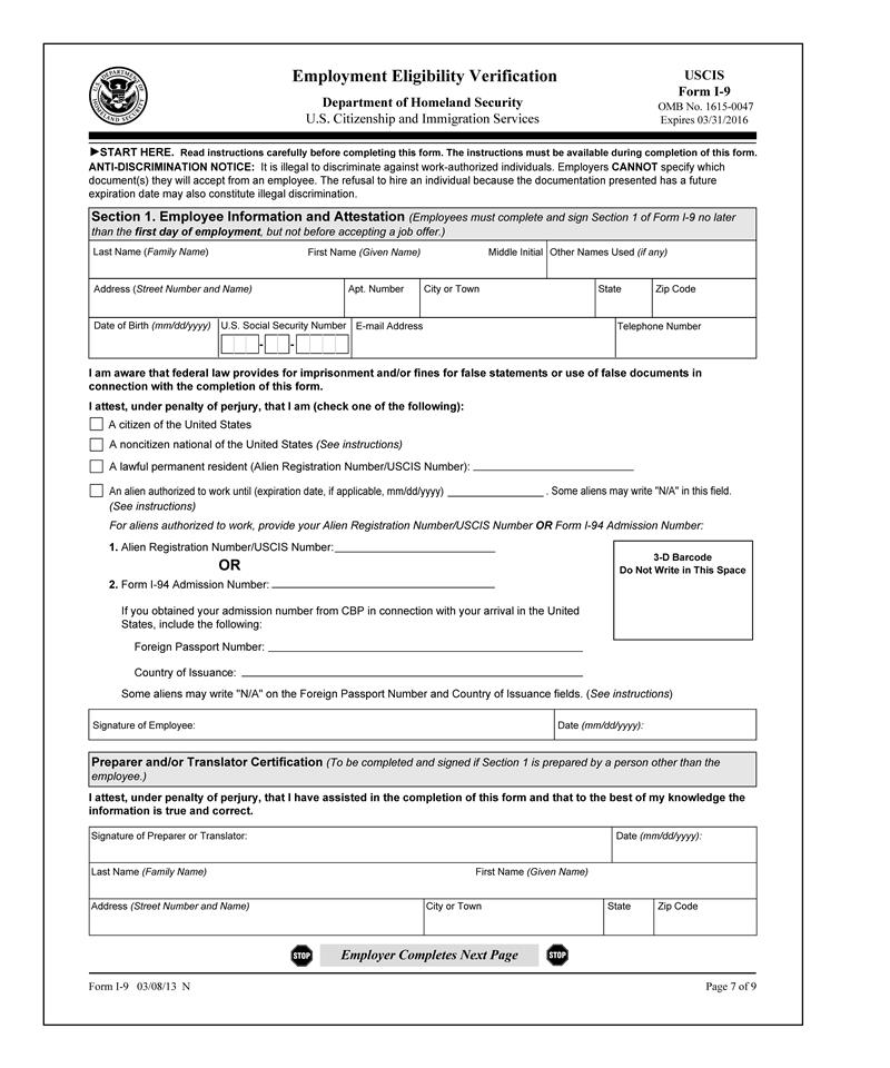 Tf1025 2016 I-9 Employment Eligibility Verification
