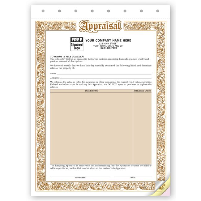 128 Jewelry Appraisal Form 8 1/2 X 11""