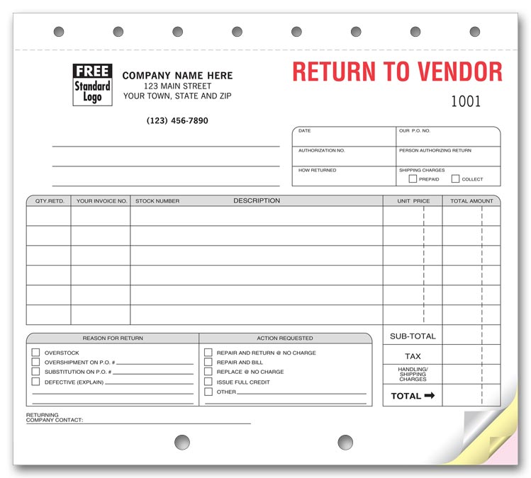 return to vendor 139 Return to Vendor Forms Sets 8 1/2 x 7""