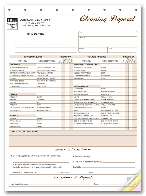 5521 cleaning service proposal with checklist 8 12 x 11 thecheapjerseys Choice Image