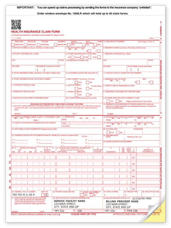 60163 Cms 2 Part Padded Claim Form 8 1/2 X 11""