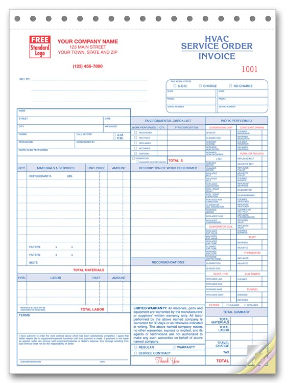 Ans Systems Manual Forms – Hvac Service Order Invoice – formiles.info