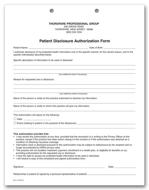 Dis100 Two Part Patient Disclosure Auth. Hipaa Form 8 1/2 X 11""