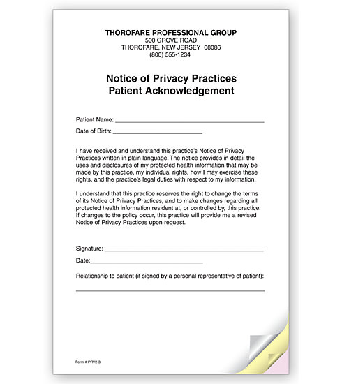 Prv2 3 Part Notice Of Privacy Practices Hipaa Acknowledgment 5 1/2