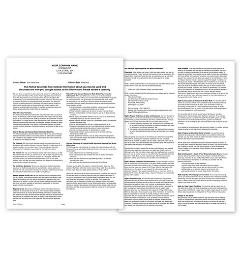 Prv Notice Of Privacy Practices Hipaa Form Padded Personalized