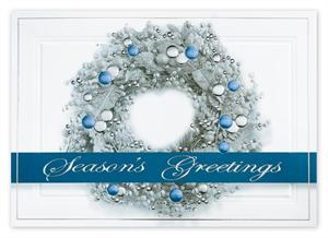 H14622 Sterling Wreath Holiday Cards 7 7/8 x 5 5/8