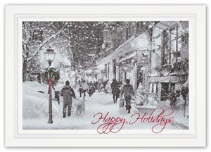 H15611 Window Shopping Holiday Card 7 7/8
