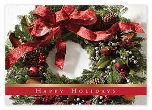 HP4317T Dappled Wreath Holiday Budget Card 7 7/8