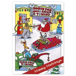 HP16329 - N6329 Northpole Repair Automotive Holiday Cards 5 5/8 x 7 7/8""