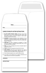 26 Dental Post Operative Instructions Envelope 3 1/2 x 6 1/2