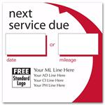 58163 Static Cling Service Label Red Arc 2 1/2 X 2 1/2
