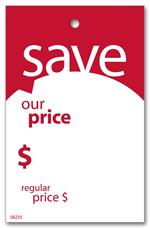 58235 Save Price Tag with Red Border 2 x 3 1/8