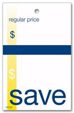 58236 Save Price Tag w/Navy and Gold Accents 2 x 3 1/8