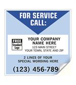 CL10 For Service Call Labels Vinyl White Blue 5 x 5