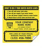 CL15 Water Heater Service Labels with Pipe Border Vinyl 5 x 5