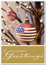 H13663 - N3663 Star Bangled Ball Patriotic Christmas Holiday Cards 5 5/8 x 7 7/8