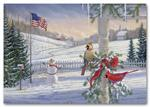 H56411 - N6411 Countryside Cardinals Patriotic Holiday Cards 7 7/8 x 5 5/8