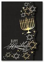 HH1678 Golden Menorah Hanukkah Card imprinted