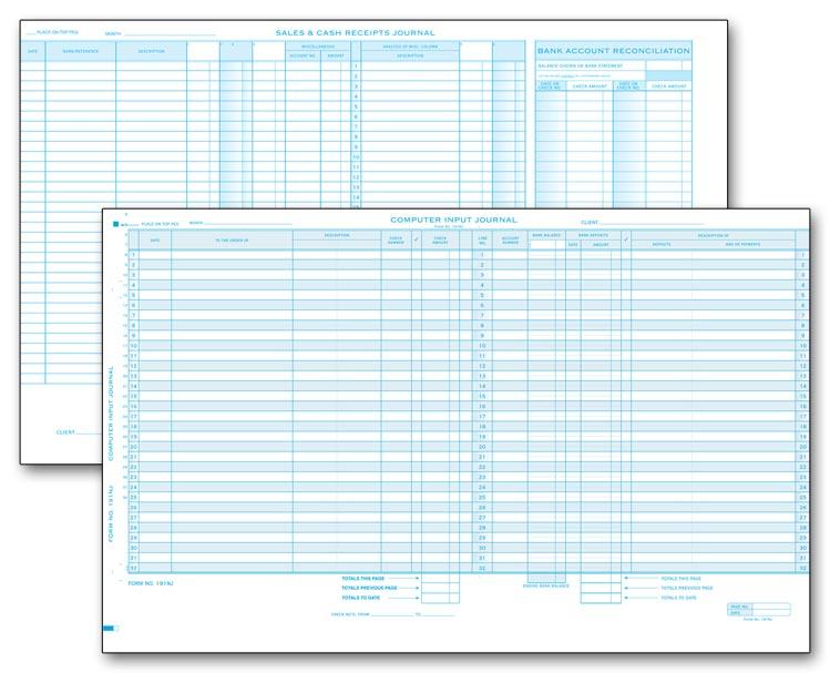 191nj computer input sales cash receipts journal 17 1 2 x 11