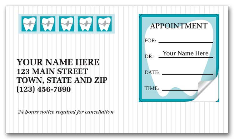 3351 orthodontic dental appointment cards peel and stick 2 x 3 12 - Dental Appointment Cards