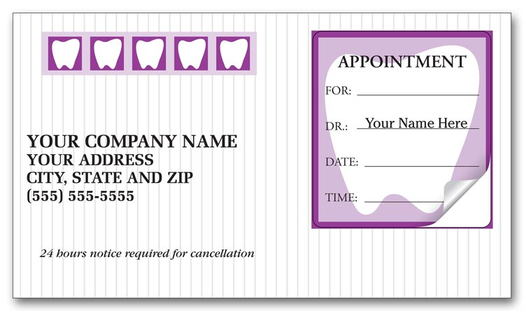 3359 dental appointment cards peel and stick tooth design 3 12 x 2 - Dental Appointment Cards