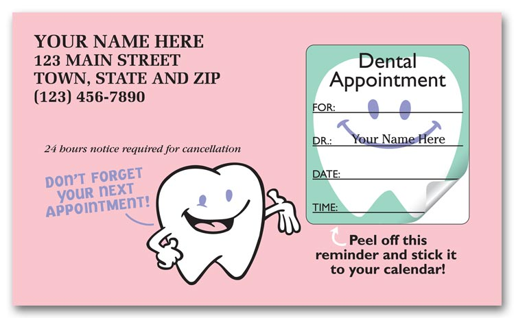 4350 dental appointment cards peel and stick dont forget 3 12 x 2 - Appointment Cards
