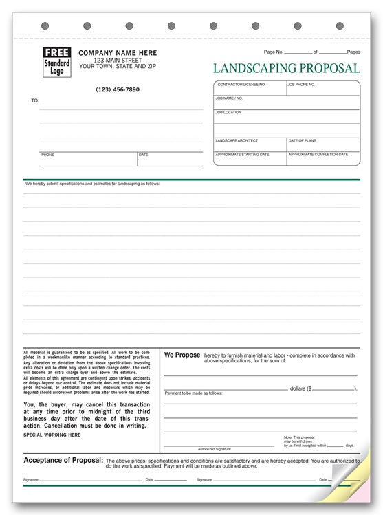 5568 landscape proposal proposal form 8 12 x 11
