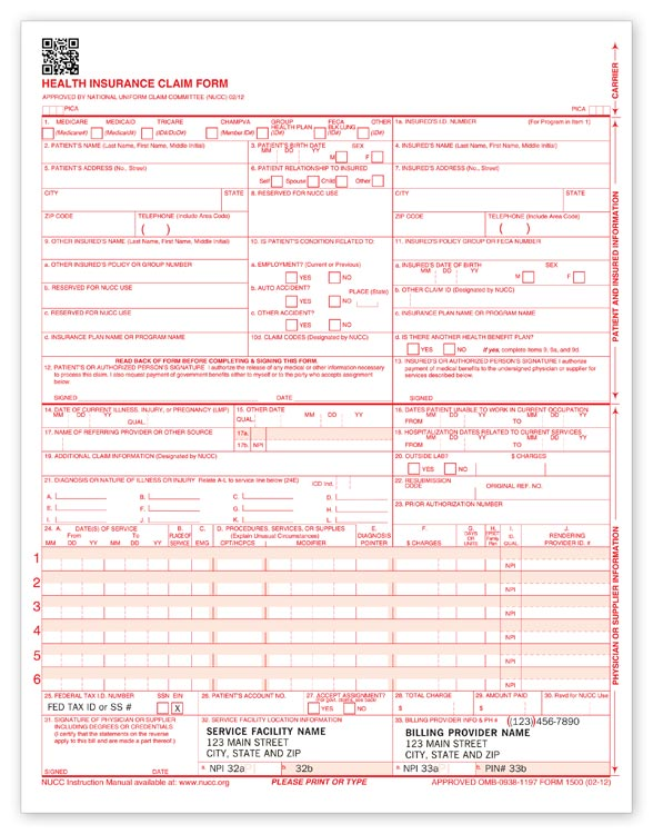 Health Insurance Claim Form Nucc 02 12 ~ Auto Insurance