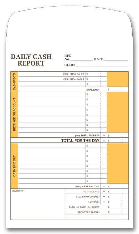 757 daily cash report envelopes 6 1 2 x 9 1 2