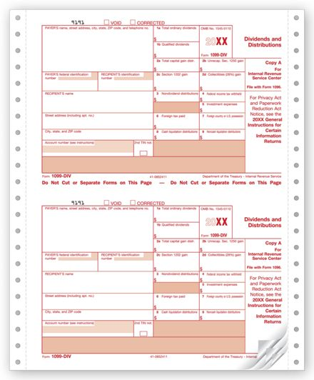 Laser Tax Form 1099-DIV Income Federal Copy A ~Pack of 25~2019