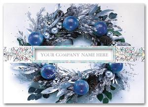 H59204 - N9204 Icy Blue Wreath Holiday Cards 7 7/8 x 5 5/8""