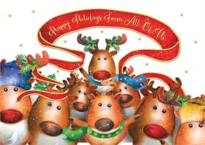 "H08674 Reindeer Cheer Holiday Cards 7 7/8"" x 5 5/8"""