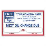 1690C Static Cling Windshield Labels Next Oil Change Due 2 1/2 x 1 1/2