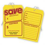 181 Save Price Tag Yellow with Red Borders Jumbo 5 x 8