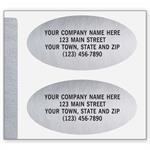 336 Advertising Labels Padded Paper Silver Foil Oval 1 1/2 x 3/4