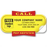 346 Yellow Padded Call for Service Labels 3 1/2 x 1 7/8