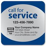 58167 Call for Service Label on Silver Poly Top & Bottom Navy Trim 3 x 3