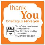58168 Static Cling 'Thank You' Windshield Label with Orange Trim 2 1/2 x 2 1/2