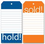 58234 Hold & Sold Tag Set w/Blue and Orange Borders 2 3/8 x 4 3/4