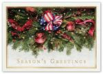 H15655 - N5655 Majestic Garland Patriotic Holiday Cards 7 7/8 x 5 5/8