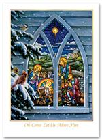 H55401 - N5401 Stained Glass Nativity Christmas Holiday Cards 5 5/8 x 7 7/8