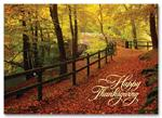 H59845 - N9845 Leaf Strewn Lane Thanksgiving Cards 7 7/8 x 5 5/8