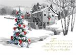 AA1040 Pencil Drawn Water Mill with Christmas Trees Cards 7 7/8 x 5 5/8
