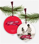 D2467 Banner Message Photo Ornament Holiday Cards 5.5