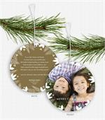 D2468 Holly & Berry Border Photo Ornament Holiday Card 5.5