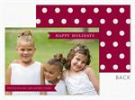 D2488 Burgundy Banners & Dots Holiday Photo Card 7 7/8 x 5 5/8