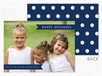 D2490 Navy Banners & Dots Holiday Photo Card 7 7/8 x 5 5/8