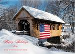 D2524 Patriotic Covered Bridge Winter Snow Scene Holiday Card 7 7/8 x 5 5/8