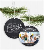 D2555 Chalkboard Greetings Photo Ornament Holiday Card 5.5