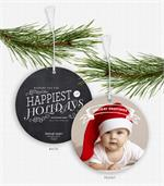 D2557 Holiday Greetings Chalkboard Photo Ornament Card 5.5